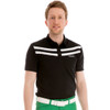 Funktion Golf Mens Short Sleeve Victory 3 Stripe Black/White Golf Shirt.37-39