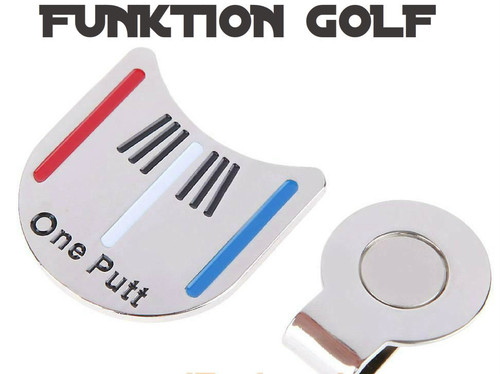 NEW GOLF BALL MAKER WITH MAGNETIC HAT/BELT CLIP.  SIMPLE AND EFFECTIVE WAY OF MARKING YOUR BALL ON THE GREEN. SIMPLY ATTACH THE MAGNETIC CLIP TO YOU FUNKTION GOLF BELT OR FUNKTION GOLF HAT. ****NO MORE REACHING INTO POCKETS SEARCHING FOR YOUR BALL MARKER. ****NO MORE DIRTY POCKETS.   ****STRONG MAGNETIC, EASY TO STICK ON AND OFF. ****EASILY SEEN FROM A DISTANCE  WITH RED AND BLUE LINES TO ALIGN YOUR BALL. ****ONE PUTT FROM FUNKTION GOLF IS ALL YOU NEED.