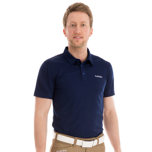 Funktion Golf Mens Short Sleeve Golf Shirt Navy Blue Plain