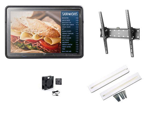 """The Display Shield 19-29"""" Anti-Glare Outdoor Enclosure, Fan, Spacers, Tilt Mount"""
