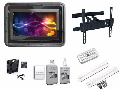 """The Display Shield 19-29"""" Anti-Glare Outdoor Enclosure Full Motion Ultimate Kit"""