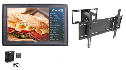 """The Display Shield 36-43"""" Anti-Glare Outdoor Enclosure, Fan, Full Motion Mount"""