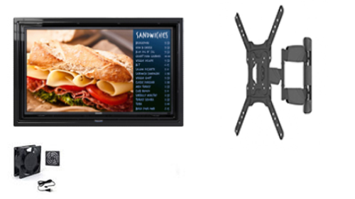"""The Display Shield 30-32"""" Anti-Glare Outdoor Enclosure, Fan, Full Motion Mount"""