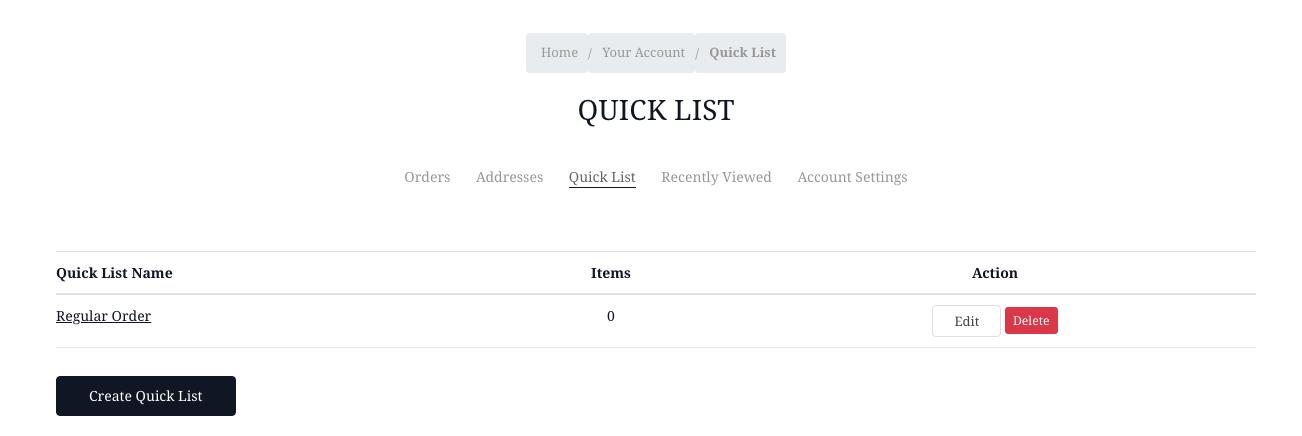 Quick lists listing