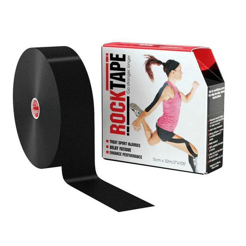 "RockTape 2""x105 Feet Roll Black Product With Package"