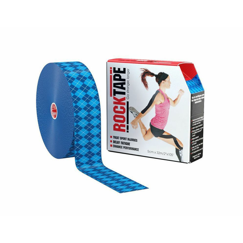 "2"" RockTape Bulk Blue Argyle Product With Package"