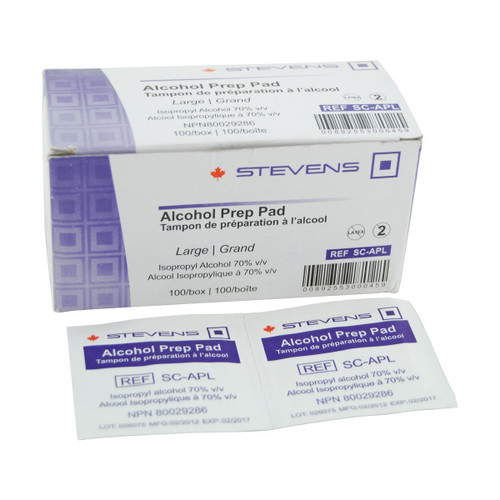 Stevens Alcohol Prep Pads - Large/100