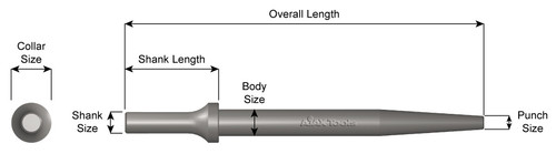 """TAPERED PUNCH, .401 SHANK, 6-1/2"""" LONG"""