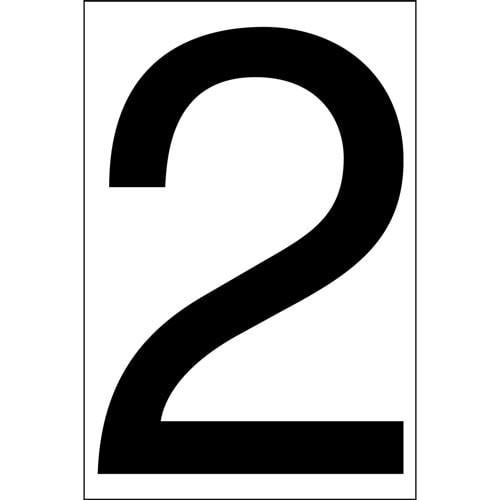 "DECAL, 4"" BLACK ""2"" ON 5"" WHITE BACK"