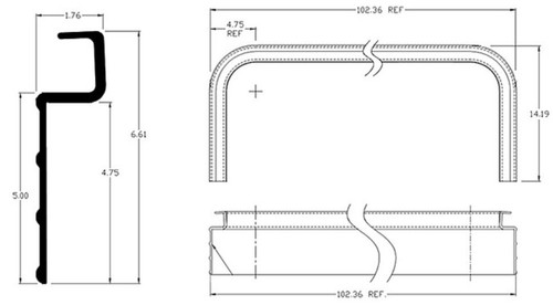 "Upper front nose rail.  102"" Wrap-around. 4.75"" Radius. Ribbed lower flange."