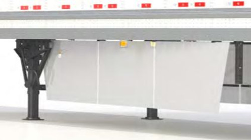 Complete side skirt kit, Includes 6 panels, 8 spring-loaded arms, upper brackets and fasteners