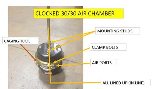 "30/30 Brake chamber, sealed, long shaft, assembled in ""clocked"" position."