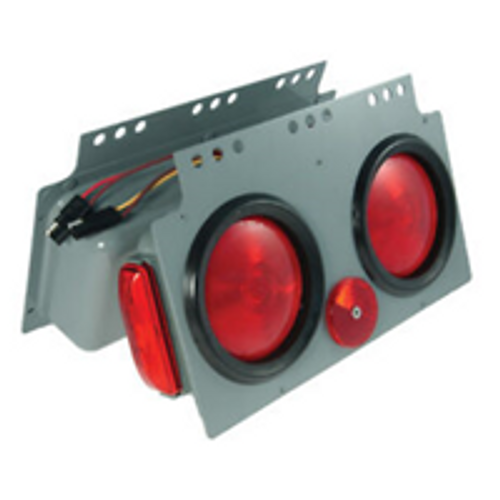"""Tail light replacement assembly, complete with sealed 4"""" round lights and side marker light. (Roadside unit)"""