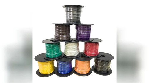 Primary wire, 100' roll, 12ga. stranded wire. color of jacket: blue