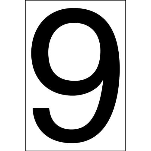 """#9 BLACK DECAL 4"""" HI WHITE BACK"""