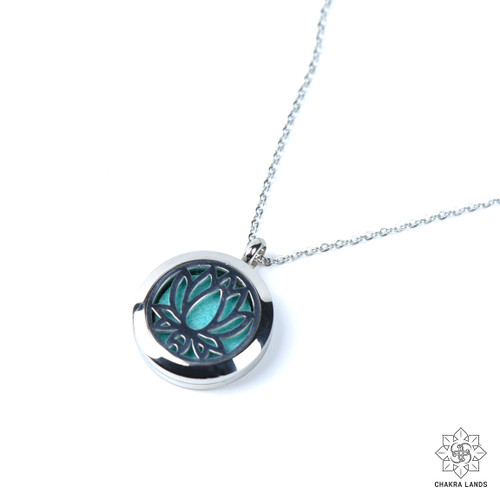 ChakraLands New Beginnings Lotus Essential Oil Diffuser Necklace Essential Oil Locket Necklace for Aromatherapy Yoga Meditation and More