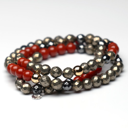 "ChakraLands ""Inner-Strength"" Triplet Bracelet for Solar Plexus Chakra Bring Luck and Prosperity - Pyrite - hematite -south red agate - Crystal Bracelet"