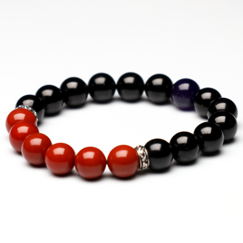 "ChakraLands ""Fearless"" Bracelet - For Protection - Black Tourmaline - South Red Agate - Root Chakra Bracelet - Healing Crystal Bracelet"