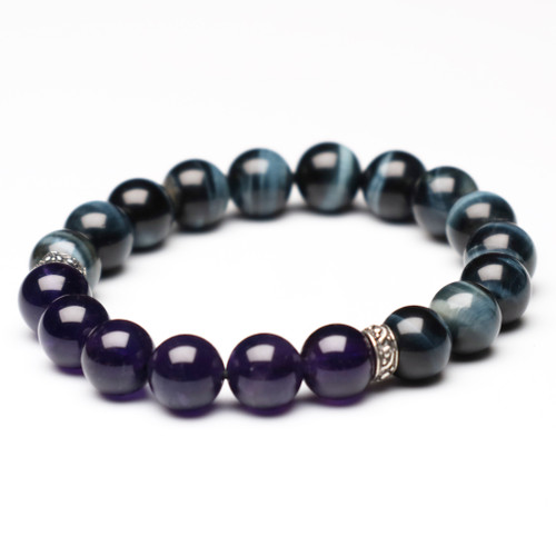 "ChakraLands ""Intuition"" Bracelet - For Clarity - tiger's eye - amethyst - Third Eye Chakra Bracelet - Healing Crystal Bracelet"