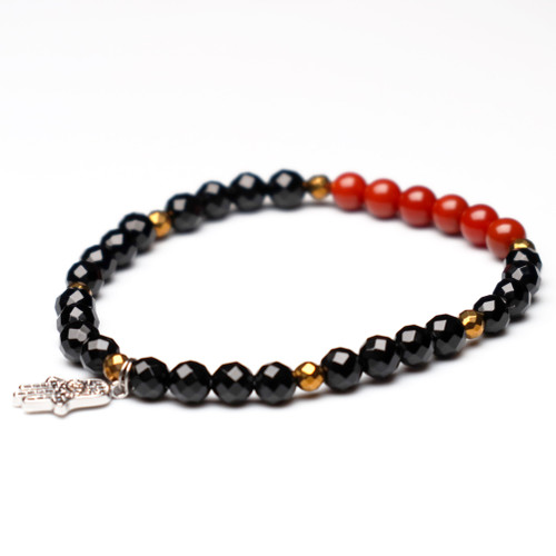 "ChakraLands ""Courage"" Bracelet For Protection - south red agate - black onyx Root Chakra Bracelet Healing Crystal Bracelet"