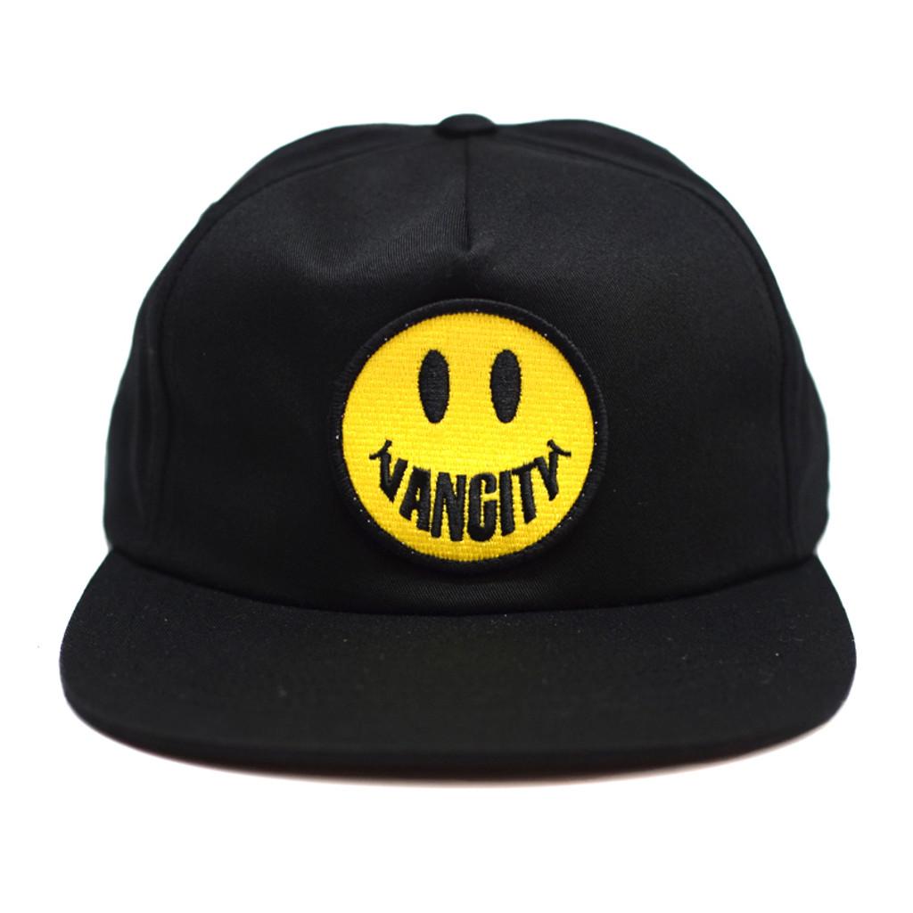 Vancity Smile Unstructured 5 Panel Snapback - Black