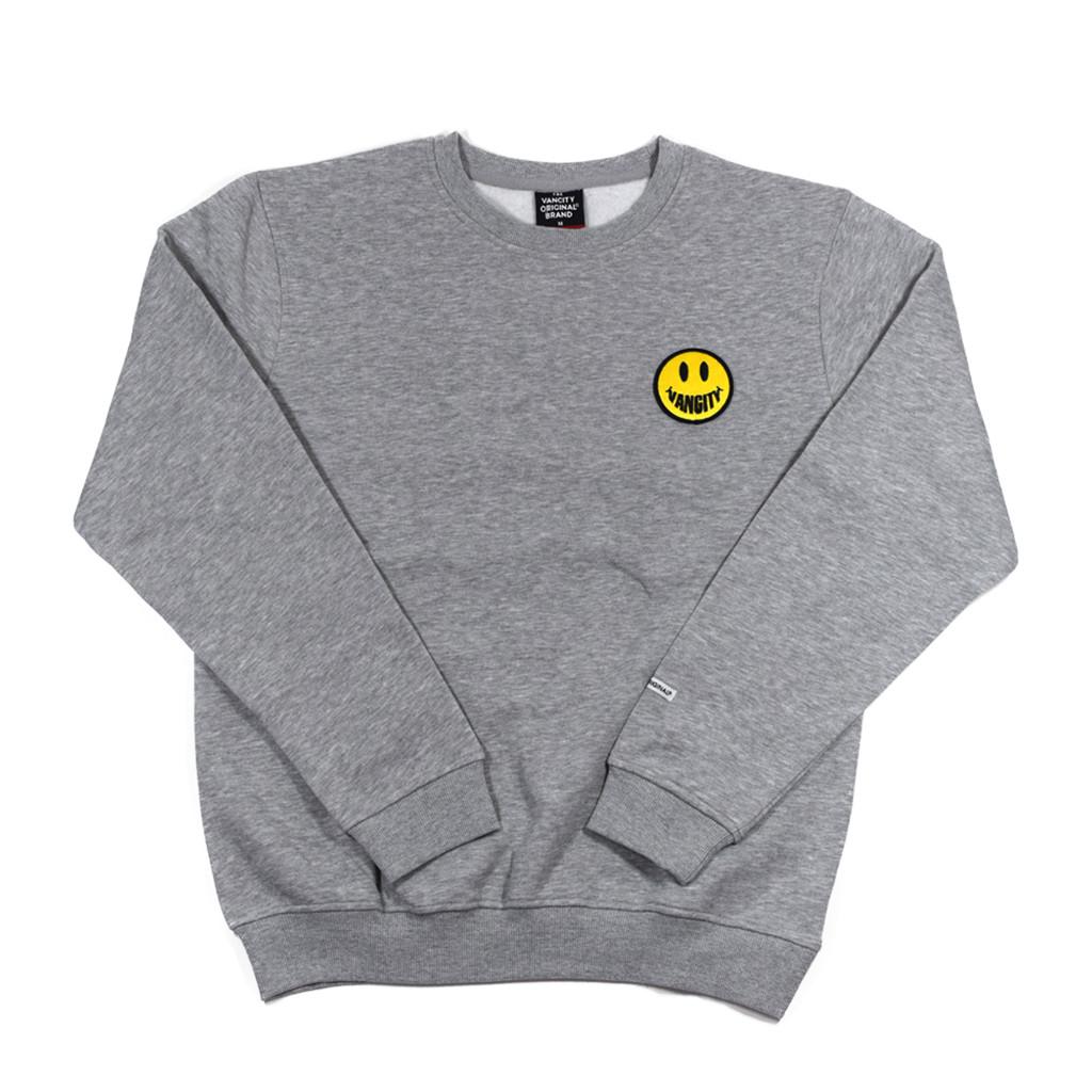Vancity Smile Patch Crew Sweatshirt - Athletic Grey