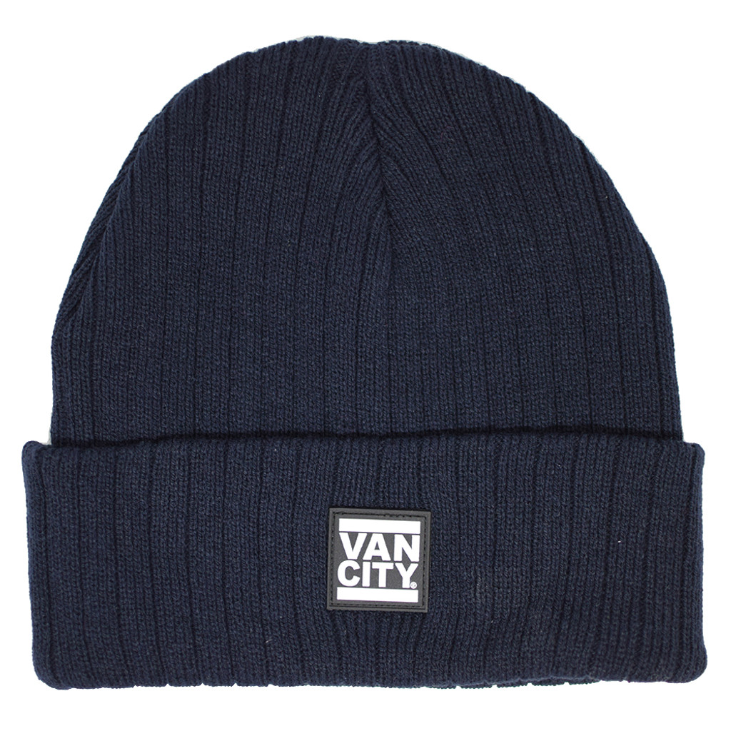 Rubber Patch Ribbed Beanie - Navy