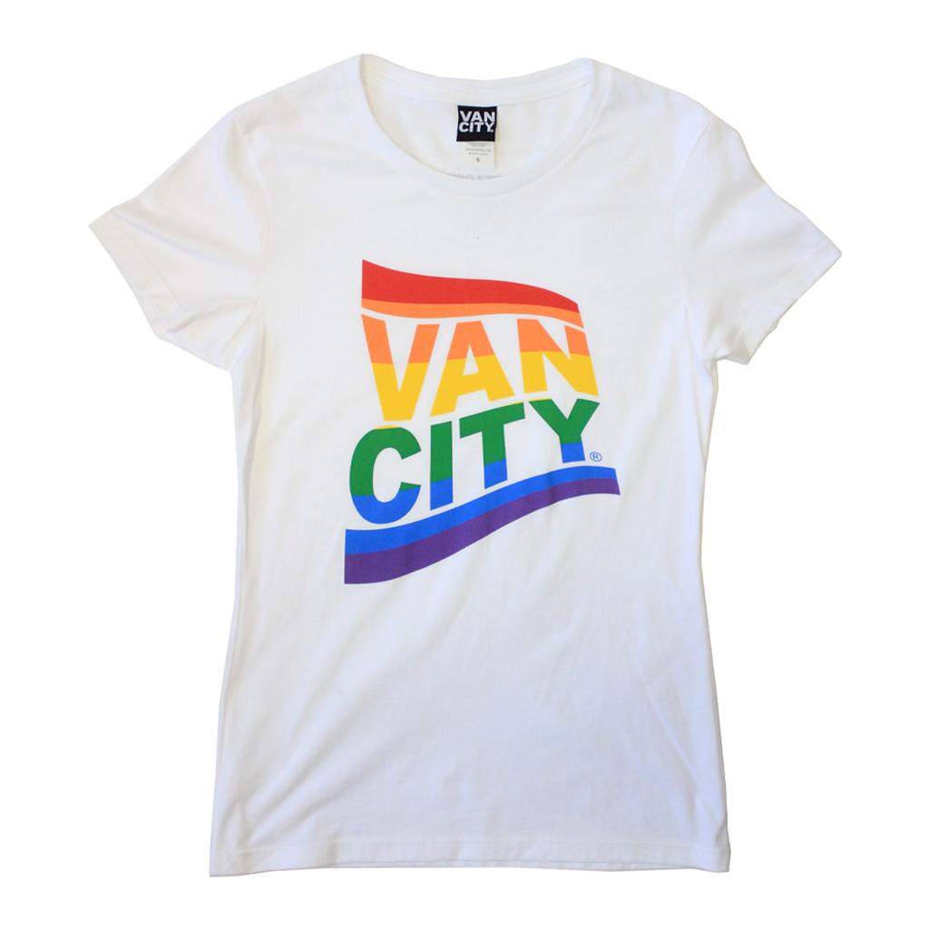 Women's Vancity® Pride Flag Tee Shirt - White