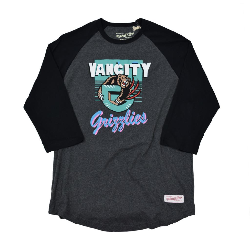 Vancity® Grizzlies Vintage Raglan Tee - Charcoal/Black