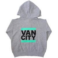 Vancity® Baby Zip Up Hoodie - Heather Grey/Teal
