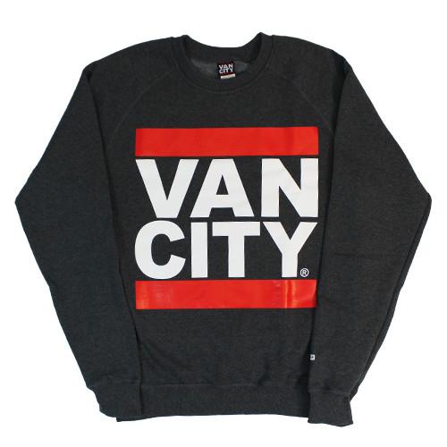 Vancity Original® New Classic Fit UnDMC Crewneck Sweatshirt in Dark Grey - Front