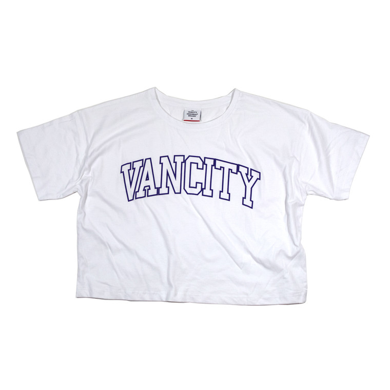 Collegiate Crop Tee - White/Purple