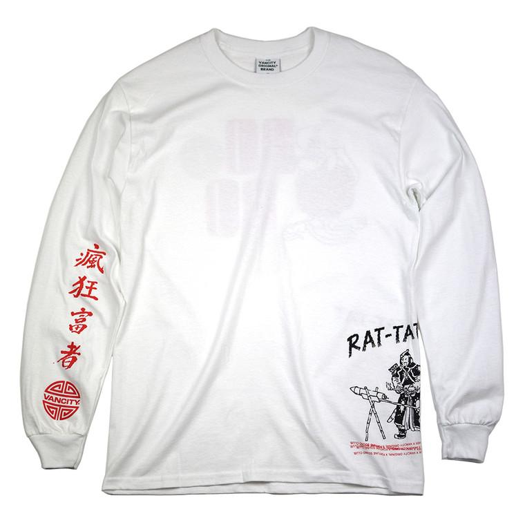 Rat-tat-tat-tat Long Sleeve Tee - White