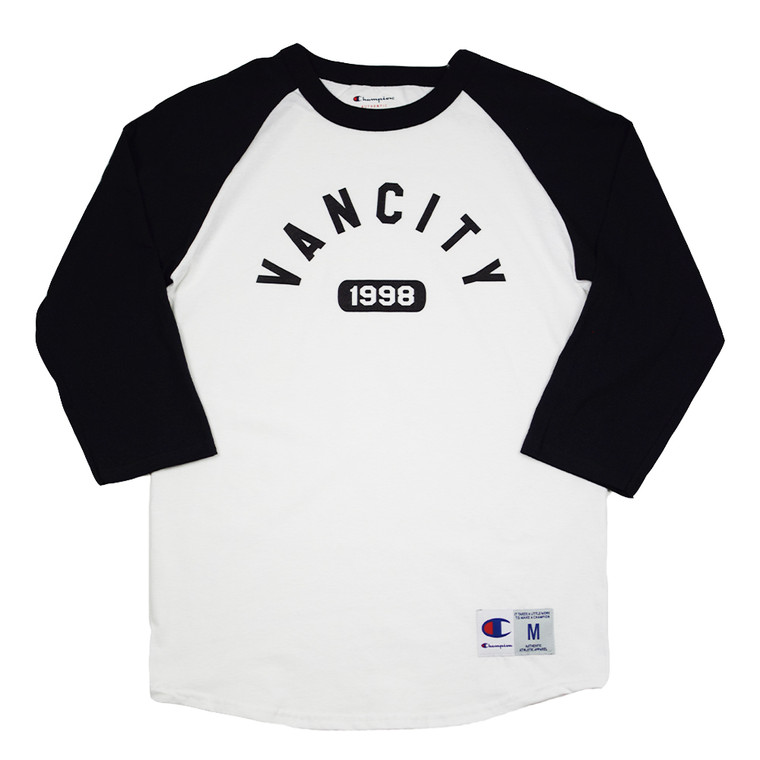 Vancity Athletic x Champion Raglan Baseball Tee - White/Black
