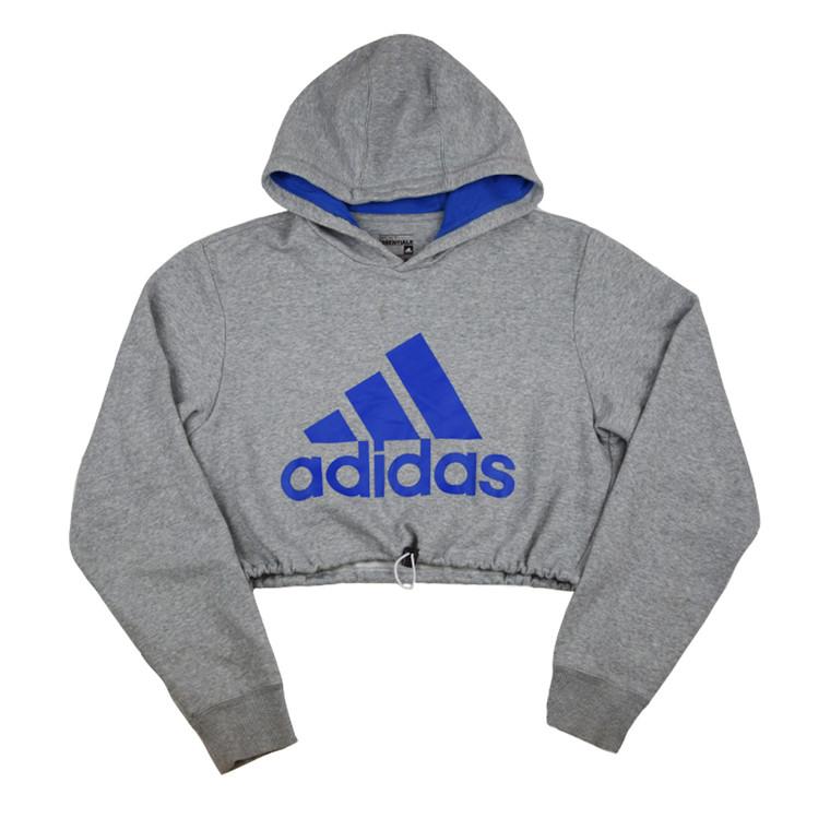 Queens Reworked Adidas Equipment Crop Hoodie - Athletic Grey