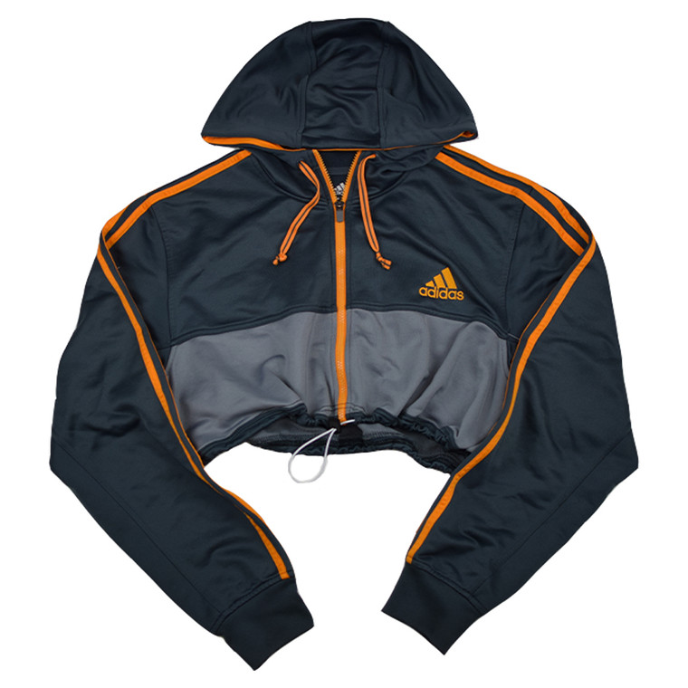 Queens Reworked Adidas Hooded Crop Track Jacket - Black/Dark Grey