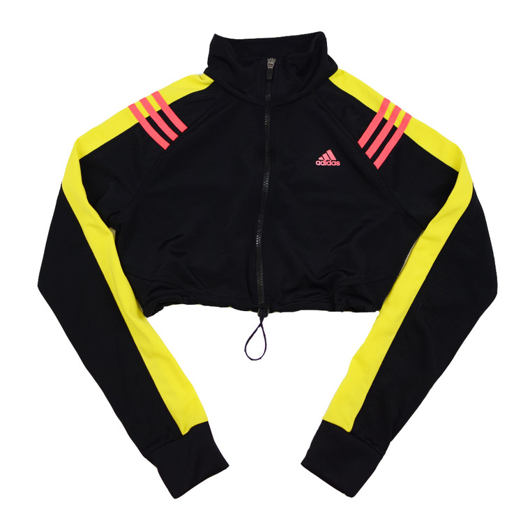 Queens Reworked Adidas Crop Track Jacket - Black