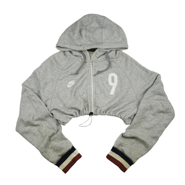 Queens Reworked Nike #9 Crop Zip Up Hoodie - Light Grey