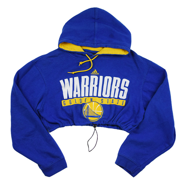 Queens Reworked Adidas Golden State Warriors Crop Hoodie - Blue
