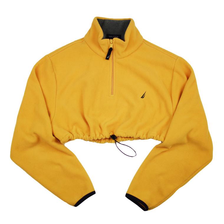 Queens Reworked Crop Nautica Polar Fleece 1/4 Zip - Yellow