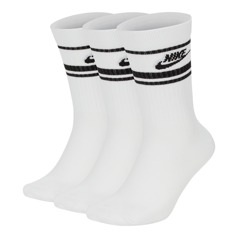 NSW Everyday Essentials Stripe Crew Socks (3 Pairs) - White/Black