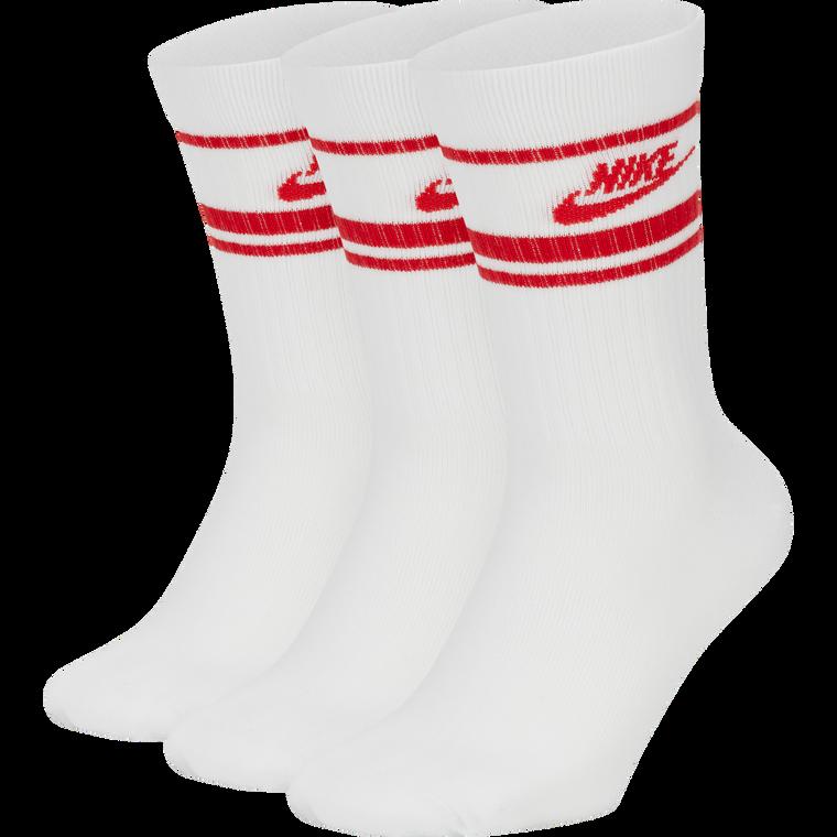 NIKE SPORTSWEAR ESSENTIALS STRIPE CREW SOCK - WHITE/RED