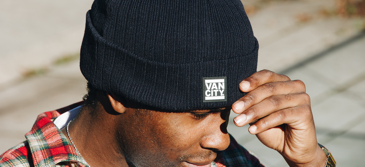 Rubber Patch Ribbed Beanie