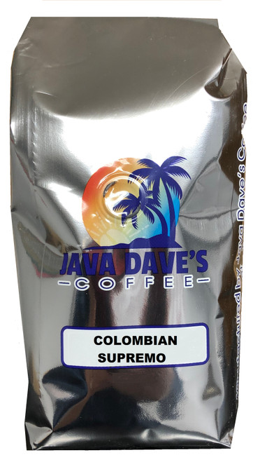 Colombian Supremo 12oz Bag - Medium Roast, A very popular medium-full bodied coffee.  Rich in flavor with a bright taste and a slightly floral aroma.  Grown in the central mountain ranges of Colombia.  The Supremo is the highest grade of Colombian coffee.