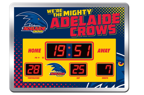 Adelaide Crows LED Scoreboard Clock with calendar and temperature display