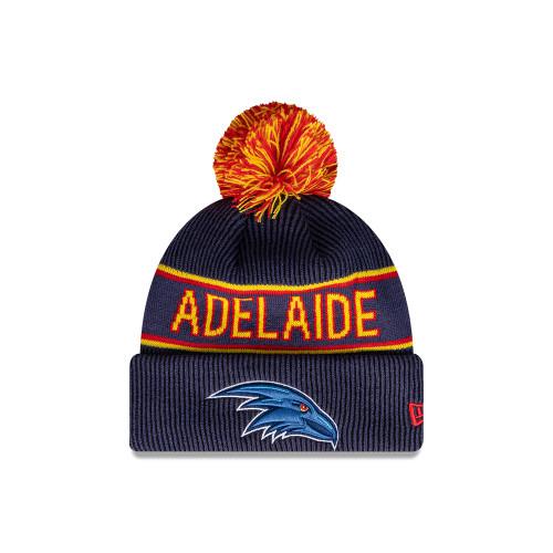 Adelaide Crows Official Team Colours Pom Beanie with Adelaide Crows Logo Embroidery Patch Detailing