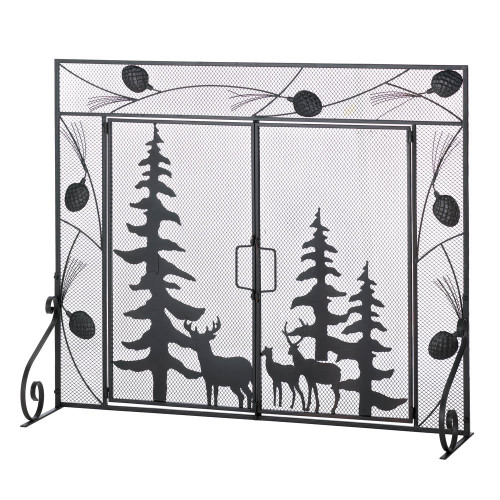 Deer Family Fireplace Screen