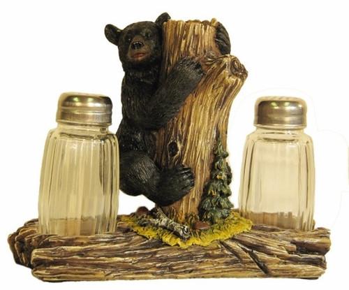 Black Bear Climbing Tree Salt & Pepper Holder