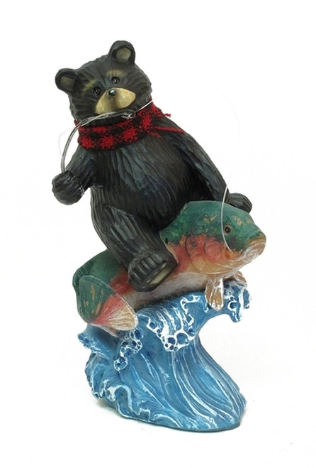 Black Bear Catching Fish Figurine