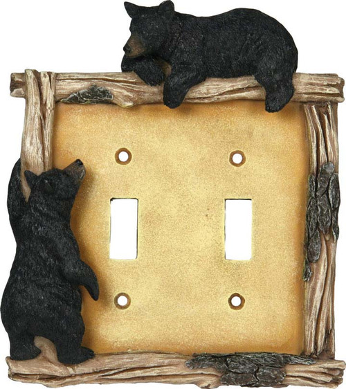 Black Bear Double Light Switch Cover